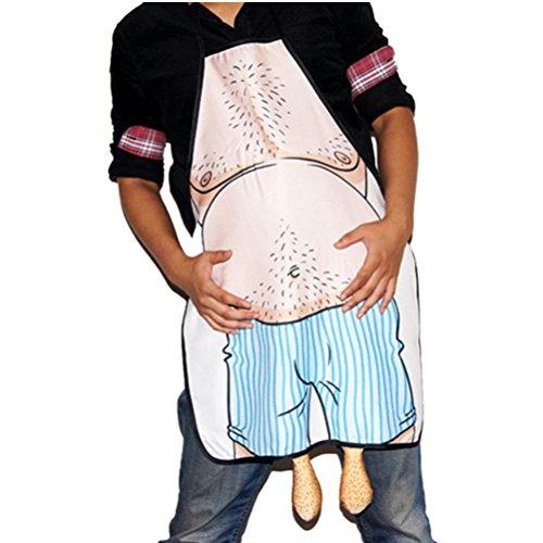 UEETEK Schürze Kochen Küche Schürze, Verrückt Bauch Mann Neuheit Schürze für die Küche Kochen BBQ Neujahr Festival
