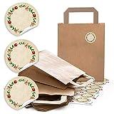 24 braune Kraftpapier Papiertüte Geschenktasche Henkel mit Boden 18 x 8 x 22 cm + 24 runde Aufkleber 4 cm Advent Kranz rot grün beschreibbar Geschenk-Verpackung Weihnachten bio