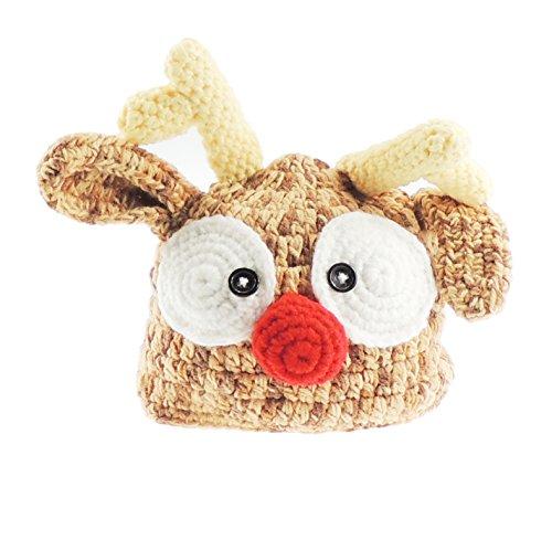 Baby Jungen/Mädchen, Grobstrick Mütze mit Rentier-Geweih, Foto Requisite