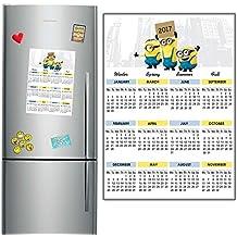 Minion 22017imán para nevera calendario 29x 21cm A4tamaño niños Boy niña Stuart Kevin y Bob
