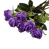 6 Stück Simulation Blumen Rose Künstliche Pflanzen (Lila)