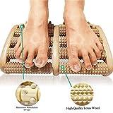 Fußroller aus Holz Fussmassageroller Reflexzonen Fussmassagegerät Zweifuß Holz Massage-Roller 2 x 5 Rollen