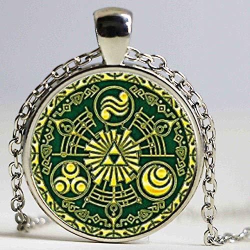 Kostüm Tor Machen - DADATU Halsketten für Herren Legende Von Zelda Tor Der Zeit Hyrule Historia Emblem Inspiriert Glas Cabochon Kuppel Anhänger Halskette