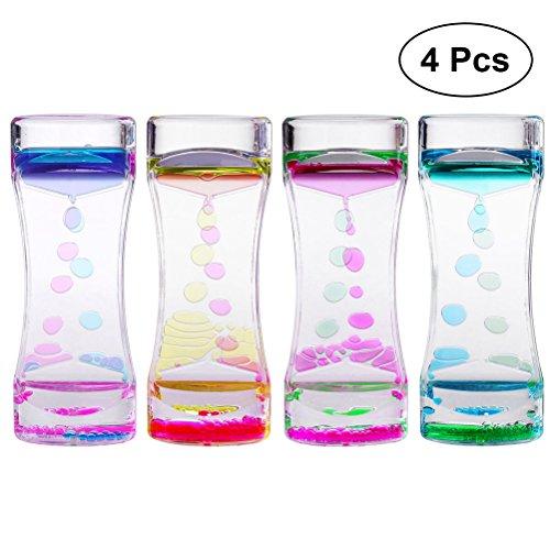 STOBOK 4 STÜCKE Flüssige Sanduhr Timer Zeitmesser Doppelfarben für Kinder Geschenk Schreibtisch Deko - 4 Stück Schreibtisch