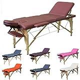 H-ROOT 3 Massagetisch Abschnitt Leichtes tragbares Couch Bett Sockel Therapie Tatoo Salon Reiki Healing Schwedische Massage 13.5KG (Rotwein)