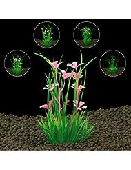 KINGDUO Plantas del Acuario Plástico Artificial Grass para Fondo De Acuario Pecera Adornos Decoraciones
