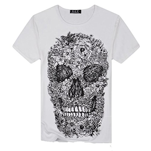 Skull Themed Series Mens 3D Druck Terro Skull Lässige Kurzarm Shirt Top Bluse,Weiß,M (Skull Sweatshirt White)