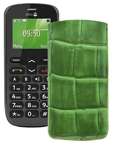 Original Suncase Tasche für / Doro PhoneEasy 508 / Leder Etui Handytasche Ledertasche Schutzhülle Case Hülle *Lasche mit Rückzugfunktion* croco-grün