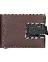 Al Fascino Brown And Black Velcro Model PU Leather Wallet/Purse For Men