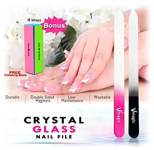 Preisvergleich Produktbild VMAGIC 2Pack Crystal Glass Nail File, Manicure Nail Files, Buffer Kit, Pedicure Fingernail File with 4 Ways Polish Sanding File Block (Rose Pink + Black)