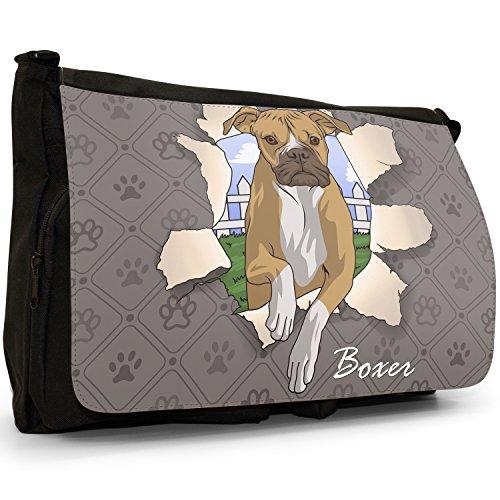 Spezzare cani grande borsa a tracolla Messenger Tela Nera, scuola/Borsa Per Laptop Boxer Breaking Through