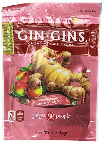 Gin Gins Spicy Apple Chewy Ginger Candy 3 Oz Bag Ginger Chews (Pack of 3) by The Ginger People