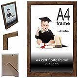 Marron cadre pour diplôme A4, 21 cm x 29,7 cm, cadre photo, montage mural ou autoportant