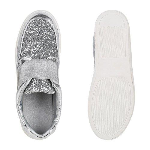 Damen Sneakers Slipper Slip-ons Glitzer Skaterschuhe Flats Silber Glanz