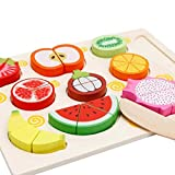 TEMSON Wooden 9 Pieces Magnetic Sliceable Fruit Cutting Game Kitchen Set Toy
