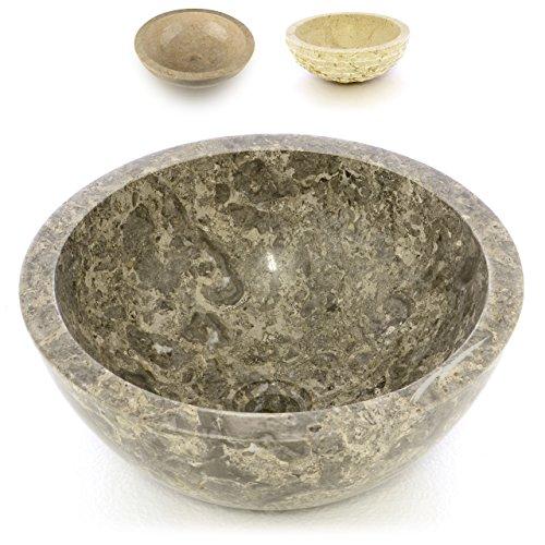 Divero Aufsatz-Waschbecken Teora Handwaschbecken Waschschale Marmor Natur-Stein poliert rund grau