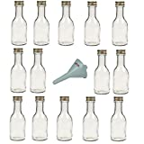 Viva Haushaltswaren - 14 x leere Glasflasche 100 ml mit goldfarbenem Schraubverschluss, als kleine Schnapsflaschen & Likörflaschen verwendbar (inkl. Trichter Ø 5 cm)