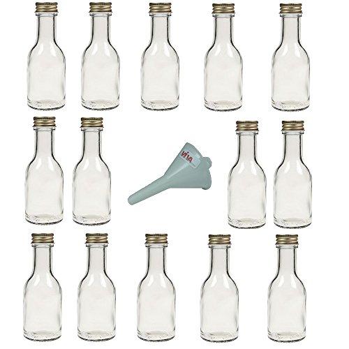 Viva Haushaltswaren - 14 x leere Glasflasche 100 ml mit goldfarbenem Schraubverschluss, als kleine Schnapsflaschen & Likörflaschen verwendbar (inkl. Trichter Ø 5 cm) (Leere Fläschchen)