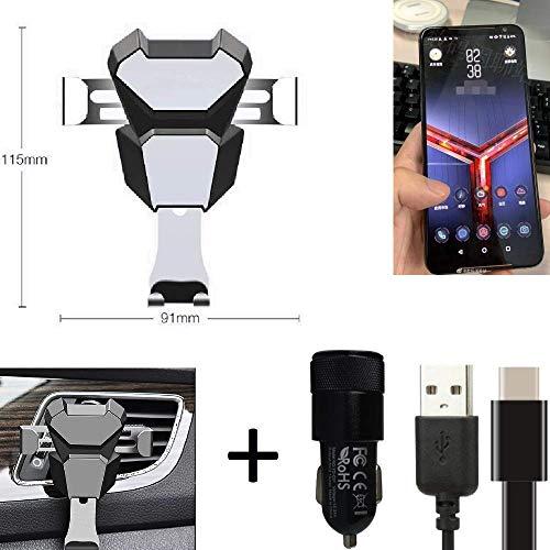 K-S-Trade® Per ASUS ROG Phone 2 Supporto + Caricabatteria Staffa Compatta Attacco di Sfiato Scanalatura della Griglia di Ventilazione Argento...