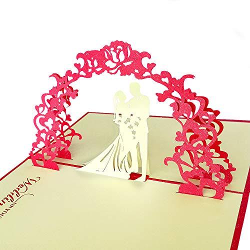 3D Grußkarte, Hochzeitskarten Romantik Faltkarte Geschenkkarte, 3D Pop-Up Karte Glückwunschkarte, Hochzeitseinladung (Hochzeit) 3d-karte