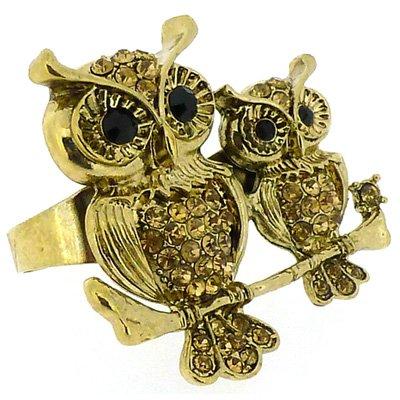 Gold Topas Kristall Mother Baby Eulen Zwei-Finger-Ring