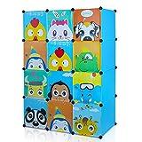 HOMFA Kinderzimmer Kleiderschrank, Aufbewahrungsregal für Kleidungen Schuhe Spielzeugen, Steckschrank 145 x 47 x 110cm mit 2 Kleiderstangen und Tieren Motiven, Blau