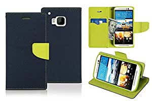 Majesty Wallet Style Flip Cover for HTC One M9 Prime Camera Edition - Blue