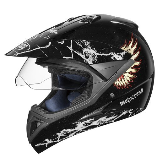 Studds Motocross D4 Helmet With Visor (Black N12, XL)