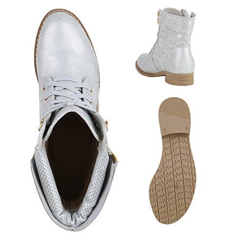 Stylische Damen Stiefeletten | Worker Boots Spitze | Knöchelhohe Stiefel Gesteppt | Damenschuhe Leder-Optik | Zipper Ketten Blockabsatz Silber
