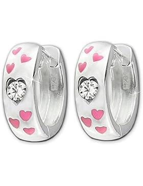 CLEVER SCHMUCK Silberne Kindercreolen Ø 13 mm Oberfläche hochglänzend poliert mit 6 kleinen Herzen rosa lackiert...