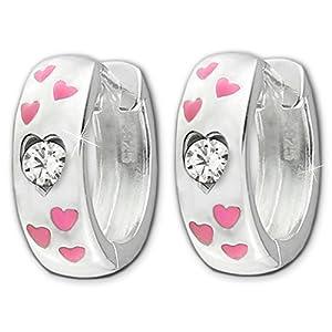Clever Schmuck Silberne Kinder Creole Ø 13 mm Oberfläche hochglänzend poliert mit 6 kleinen Herzen rosa lackiert und Zirkonia weiß STERLING SILBER 925 für Mädchen im Etui