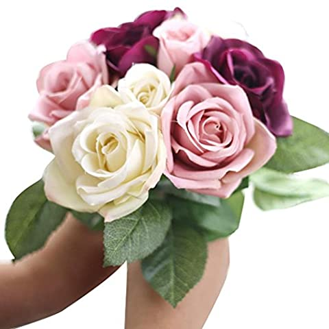 Kolylong 9 Heads Artificial Silk Fake Flowers Leaf Rose Wedding Floral Decor Bouquet (Multi)