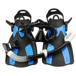 EXTSUD Kits de Plongée, Masque de Plongée + Tuba + Palmes + Sac, Kits de Randonnée Aquatique Set de Snorkeling pour Adultes et Adolescents