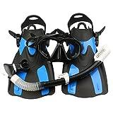 Qcstar Set per Snorkeling e Immersioni, Maschera Subacquea + Pinne + Tubo Respiratore + Sacca da Trasporto, Unisex Kit Maschera Nuoto per Adulti Adolescenti