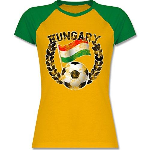 EM 2016 - Frankreich - Hungary Flagge & Fußball Vintage - zweifarbiges  Baseballshirt / Raglan T