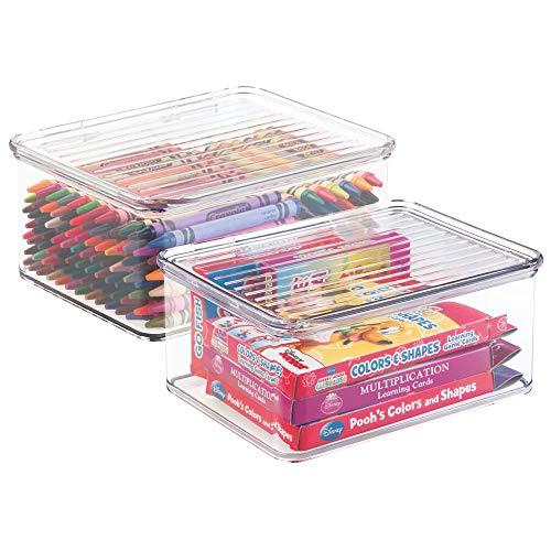 MetroDecor mDesign Juego de 2 Cajas de almacenaje con Tapa – Organizador de Juguetes apilable para la habitación de los niños – Guarda Juguetes Fabricado en plástico – Transparente