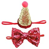 Macxy – 2 Stück/Set Haustier Hunde Kappen mit Schleife Katze Hund Geburtstag Kostüm Pailletten Design Kopfbedeckung Mütze Weihnachten Party Haustiere Zubehör [Stil 1 Blau]