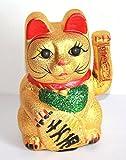 AAF Nommel ®, Glückskatze Winkekatze Glücksbringer 21 cm Maneki Neko Keramik gold Batteriebetrieb, Nr. 001