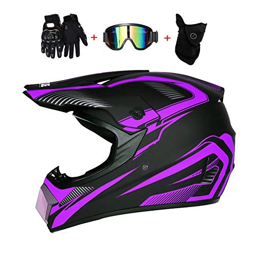 Motocross-Helm, Herren Crosshelm mit Brillen Maske Handschuhe, Motorradhelm Damen Männer Enduro Downhill Dirt Bike ATV MTB Quad Motorräder Sports Offroad Full-Face Cross Helm, Schwarz Lila,S -