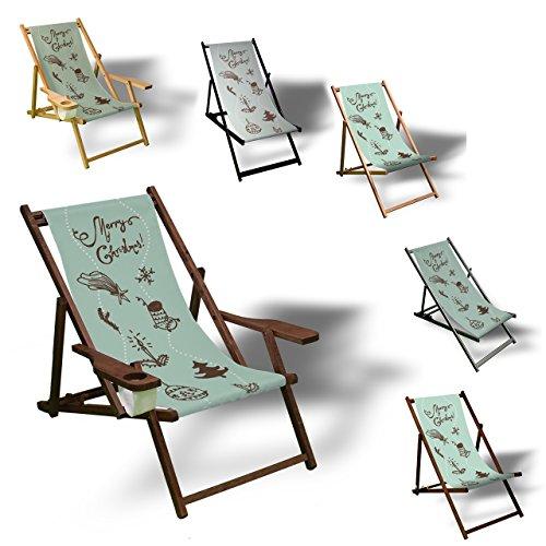 Printalio Happy Holidays - Liegestuhl Bedruckt Balkon Garten Sonnenliege Relax Holz Terrasse | Ohne...