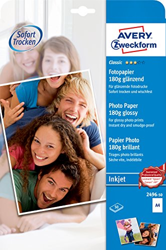 Avery Zweckform 2496-50 Classic Inkjet Fotopapier (A4, einseitig beschichtet, glänzend, 180 g/m²) 50 Blatt