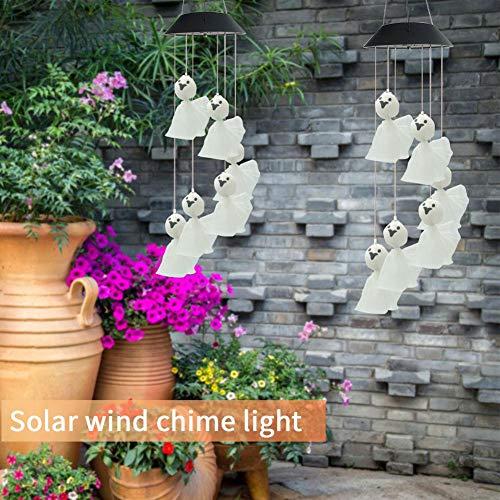 IrahdBowen Solar Windspiel im Freien, Windspiel mit Farbwechsel LED-Licht, hängende Solar Mobile Lampe für Home Yard Patio Garden, Best Memorial Geburtstagsgeschenke Amiable -