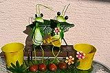 Grashüpferp-Pärchen auf Bank-2 lustige hübsche Grashüpfer mit Fühlern, die sich im Wind bewegen mit 2 Blumentöpfen- -aus Metall- für Haus und Garten, stabile gute Verarbeitung
