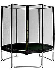 SixBros. Sixjump 1,85 M Trampoline de jardin noir - Filet de sécurité - TS185/1924