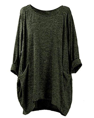 VONDA Damen Freizeithemd Lose Top Basic Asymmetrische Hem Bluse mit Taschen Armeegrün M