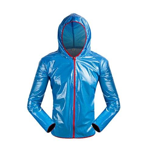 Dexinx Erwachsene im Freien Fest Farbe Radfahren Wasserdichte Jacke Windschutzbreath Langarm mit Kapuze Bike Raincoat Blau 2XL