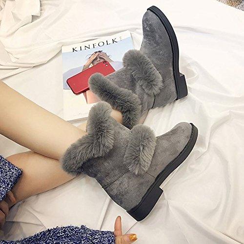 HSXZ Scarpe donna Cashmere Winter Snow Boots stivali tacco basso punta tonda Mid-Calf scarponi per Casual Nero Grigio Gray