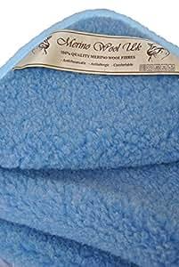 Merino Couverture bébé unie en pure laine COUVERTURE 140 x 100cm Woolmark BLEU COVERTURE