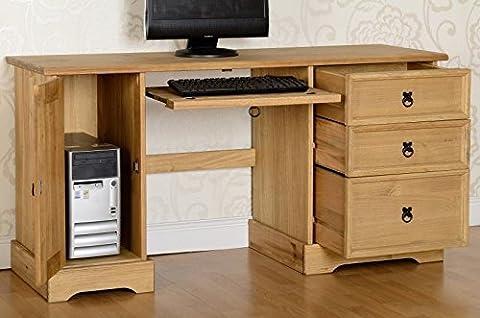 Corona Computer Desk in Distressed Waxed Pine.3 Drawers & Cupboard.Metal Handles