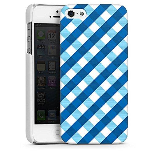 Apple iPhone 5s Housse Étui Protection Coque Carreau Bleu Bleu CasDur blanc